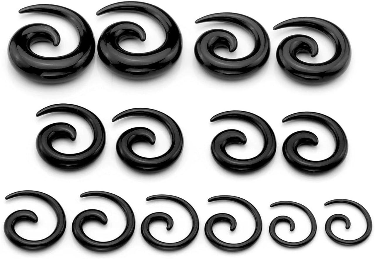 PiercingJ 14pcs 12G-00G Uv Acrylic Spiral Snail Plug Ear Stretching Kit (Many Colors)