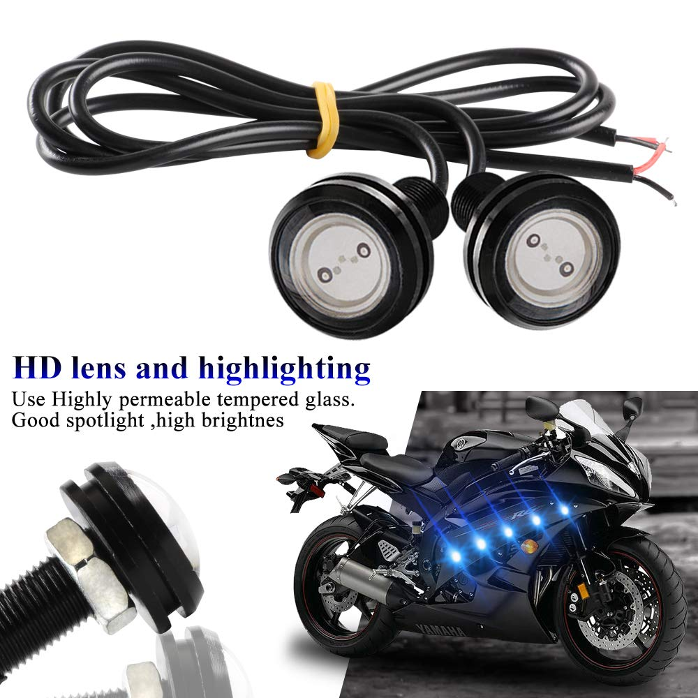 yifengshun 10pcs High Power 9W 23mm Eagle Eye LED Lights for Car Motorcycle Daytime Running Light DRL Marker Clearance Backup Lights Red