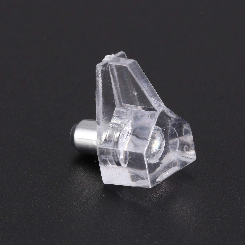 Growment 5 mm Pin soporte de balda esparragos del gabinete soporte fuertes 20 pcs,Transparente