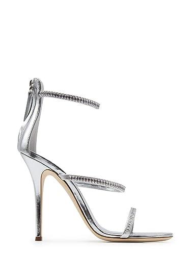 ac2f66788 Giuseppe Zanotti Design Women s E900012001 Silver Leather Sandals ...