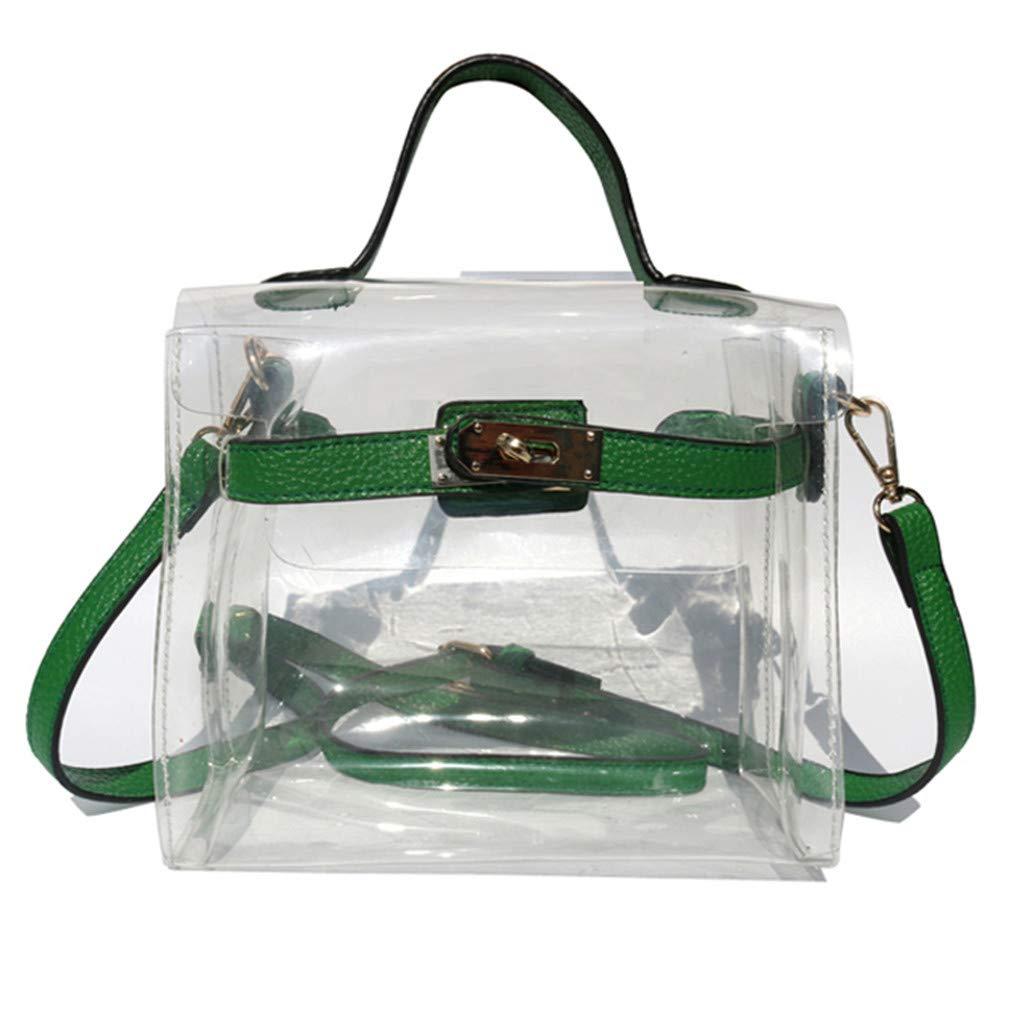 ANANXILA Fun Summer Beach Bag Clear Bag Women Handbag Cute Messenger Bag green 21cm