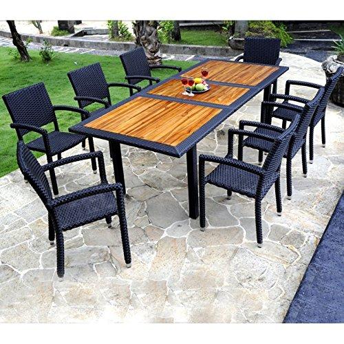Gartenmöbeln Teak und Kunstharz – Gartentisch + 8 Stühle günstig