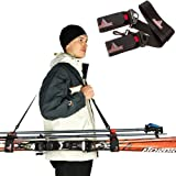 Athletrek Ski and Pole Carrier Strap with Durable Cushioned Hook and Loop to Protect Skis from Scratches   Bonus Ski…