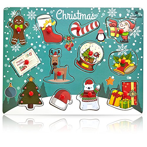 Gleeporte Wooden Peg Puzzle, Holiday Christmas Theme - Learning Educational Pegged Puzzle Boards for Toddler & Kids - Christmas (12 Pieces) ()