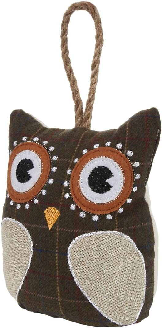 Brown Lily/'s Home Cute Decorative Owl Weighted Interior Door Stopper Compact with Patchwork Fabric Design and Hanging Loop Attached