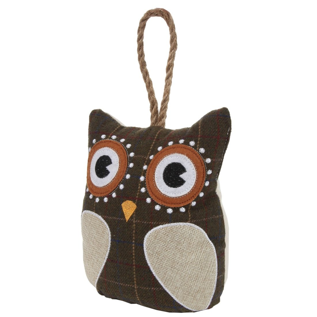 Lily's Home Cute Decorative Owl Weighted Interior Door Stopper, Compact with Patchwork Fabric Design and Hanging Loop Attached, Brown