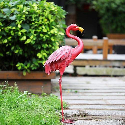 Joyathome Elegant Tall Metal Pink Flamingo Garden Statues Durable Standing Flamingo Yard Decor