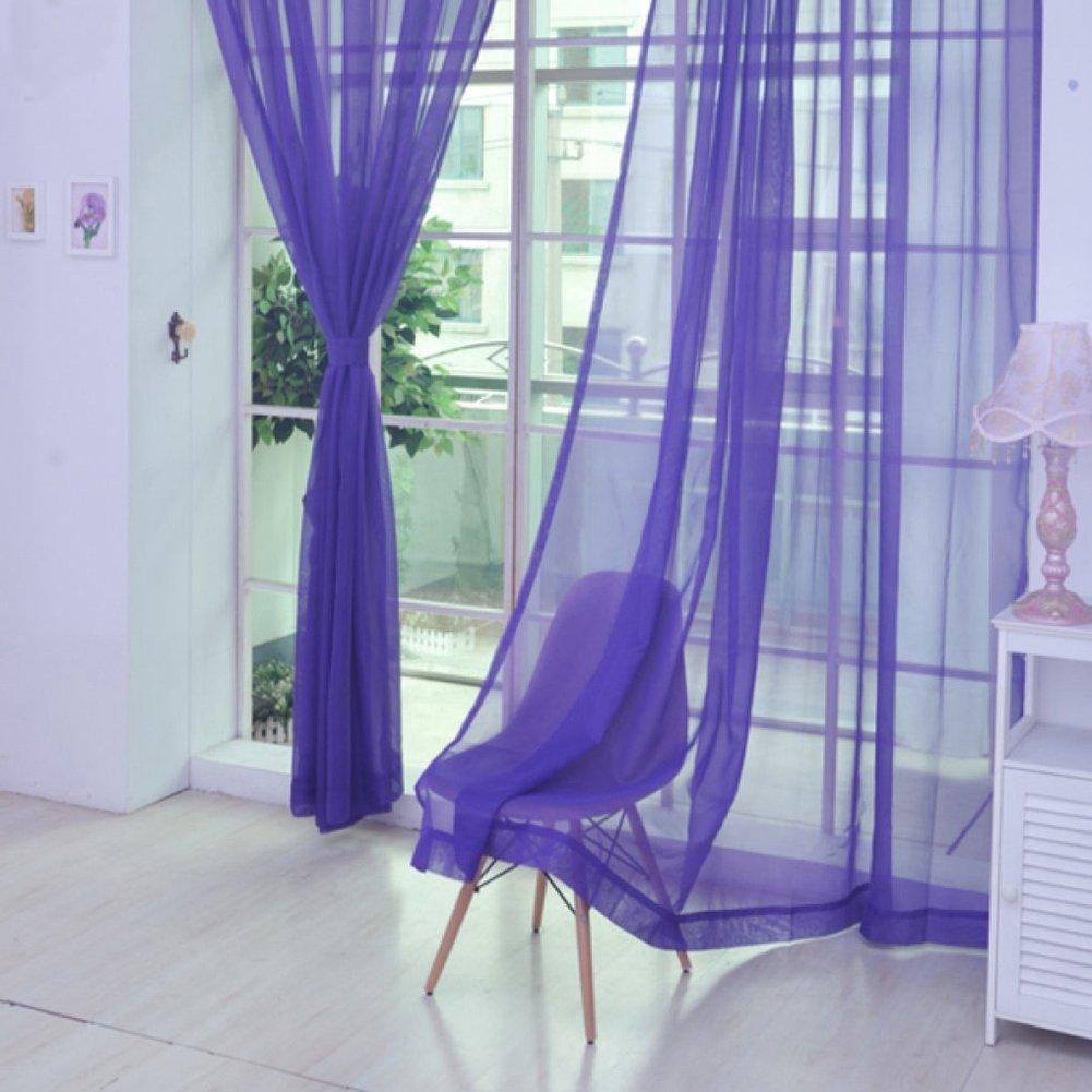 hot pink Tangbasi 2/solide Farbe T/üll Voile T/ür Fenster Vorhang Vorh/änge Translucent Pure-Sch/ürze Einheitsgr/ö/ße