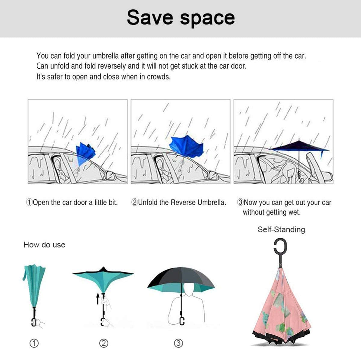 Self Stand Upside Down with C-Shaped Handle PYFXSALA Cute Watercolor Cactus Pattern Windproof Inverted Umbrella Double Layer UV Protection Folding Reverse Umbrella for Car Rain Outdoor