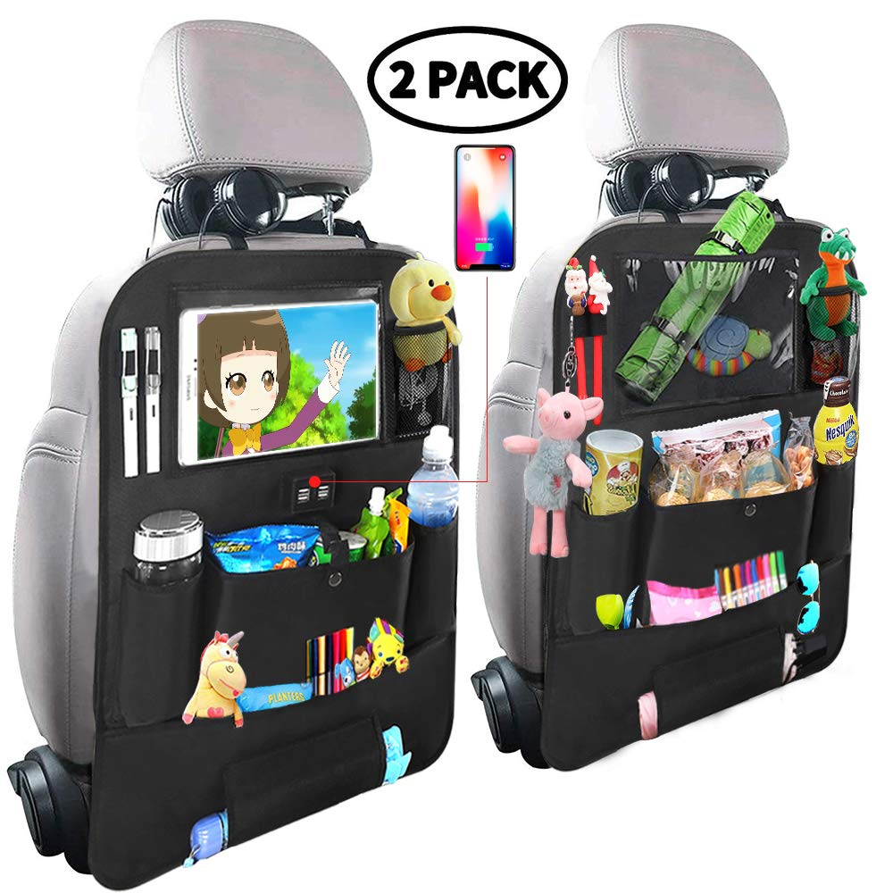 Car Backseat Organizer for Kids,Car Organizer Kick Mats Seat Back Protectors with Clear 10'' Tablet Holder + 4 USB Charging Port Multi-use Storage Pockets for Baby Vehicles Travel Accessories(2 Pack)