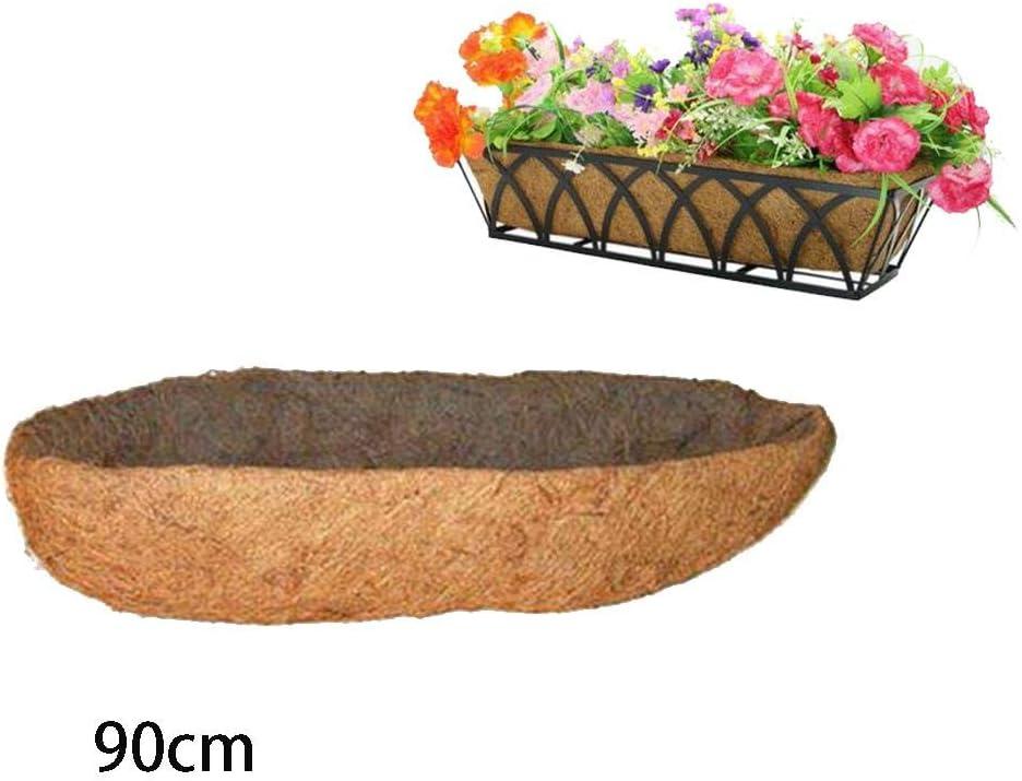 Cesta colgante de fibra de coco con forma de arco largo para macetas de flores de plástico, macetas de orquídeas, macetas colgantes, cestas, forros de pared, cesta de almacenamiento, multicolor, 90cm long: