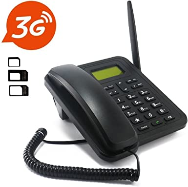 Inalámbrico 3 G Teléfono de escritorio, sourcingbay – M933 300 contactos 1000 mAh extraíble batería recargable con adaptador de tarjeta SIM – SMS, botones grandes, pantalla LCD, para oficina/familia negro: Amazon.es: Electrónica