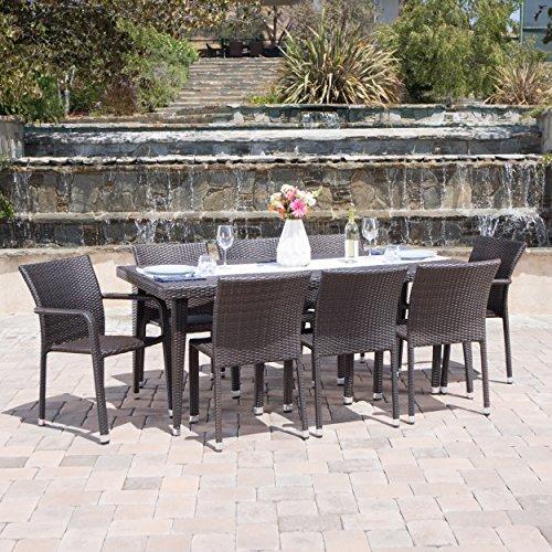 Dorian Outdoor Aluminum Framed 9 Piece Wicker Dining Set (Multi-brown)