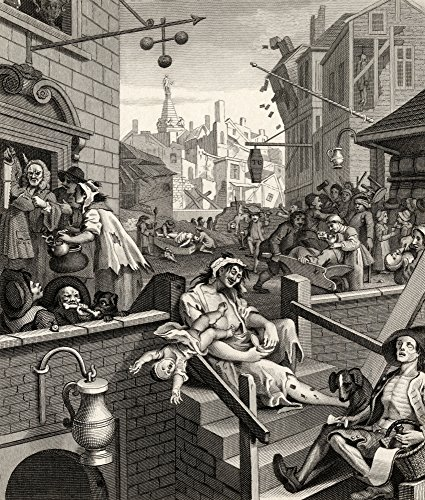 Posterazzi Beer Street Gin Lane from The Original Design Poster Print Works of Hogarth Published London 1833, (26 x 30)