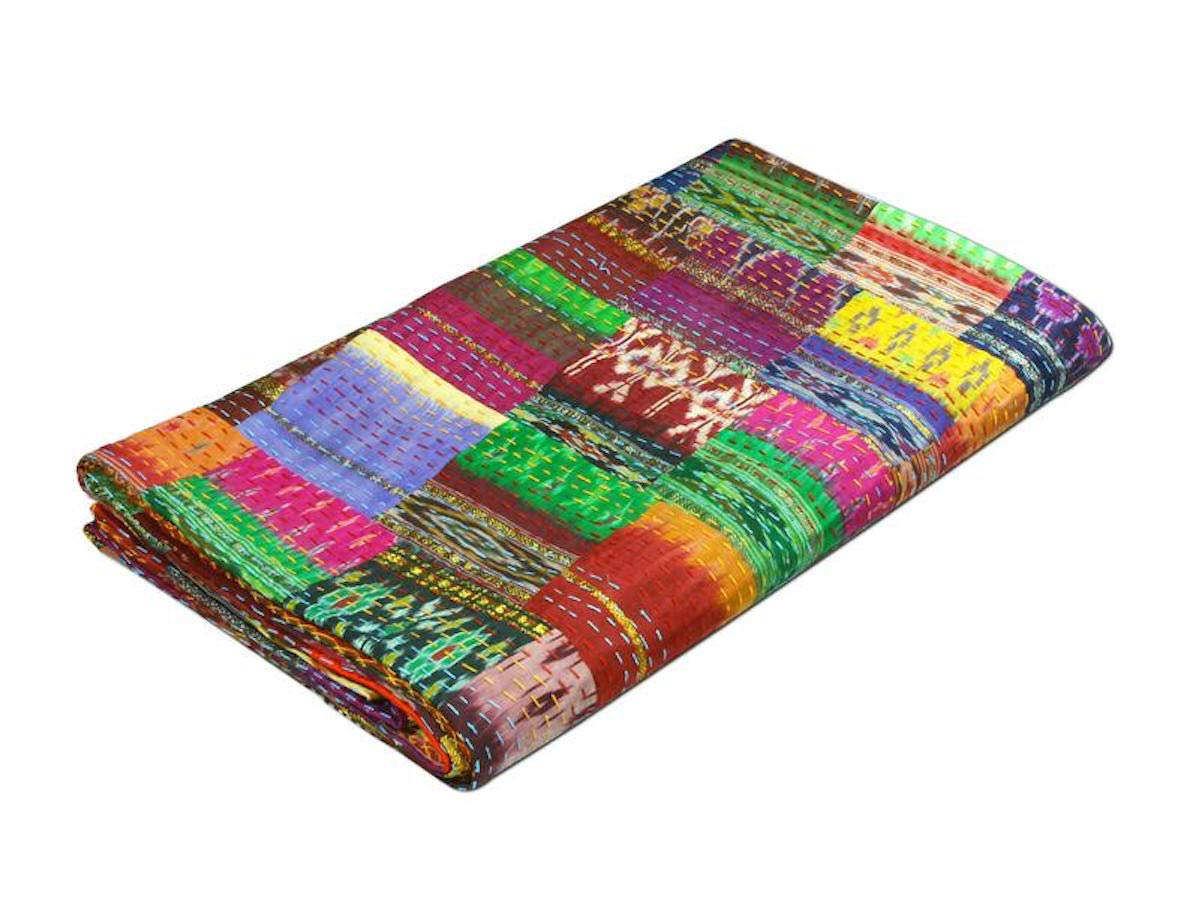 colors of rajasthan COR's Hippie Bedspreads Kantha Quilt, Kantha Blanket Bedspread, Patch Kantha Throw, Twin Kantha, Kantha Rallies Indian Sari Quilt (Queen) by colors of rajasthan