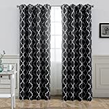 Cheap Jaoul Moroccan Blackout Curtains for Living Room Bedroom Geometric Lattice Print Room Darkening Grommet Drapes, 52 x 95 Inch, 1 Panel (Black)
