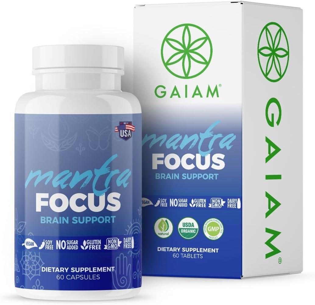 GAIAM Organic Mantra Focus Brain Support Made in USA, USDA Organic Certified, Lemon Balm, Chamomile, Rosemary, Ginkgo Biloba – 60 Capsules