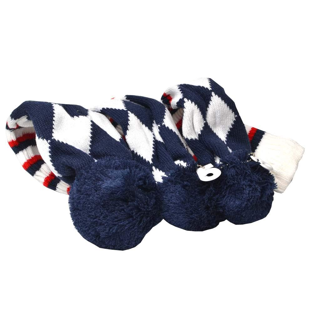 GOOACTION Drivers, Fairway Woods, Hybrids 3pcs Navy Blue and White Checkered Pattern Pom Pom Sock Set Vintange Knit Universal Golf Head Covers Fit for All Golf Brands by GOOACTION