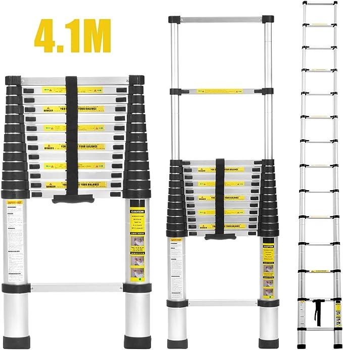 Finether 4,1M Escalera Telescópica de Aluminio, Escalera Extensible Multifuncional Portátil, Certificada por EN131, profesionales y Plegables, Carga 150kg Color Negro: Amazon.es: Bricolaje y herramientas