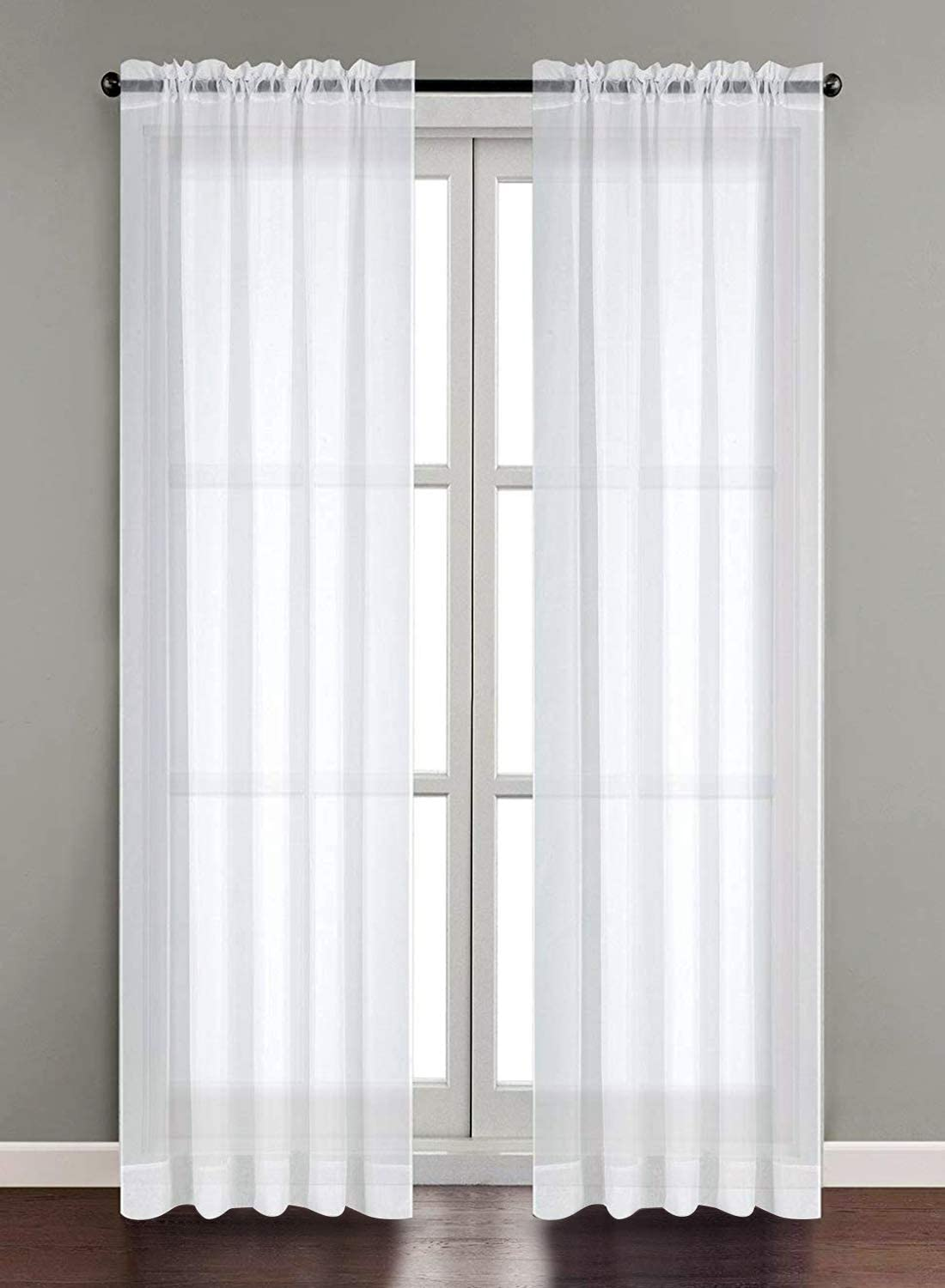 Amazon.com: Utopia Bedding 2 Panels White Sheer Curtains, W54 X