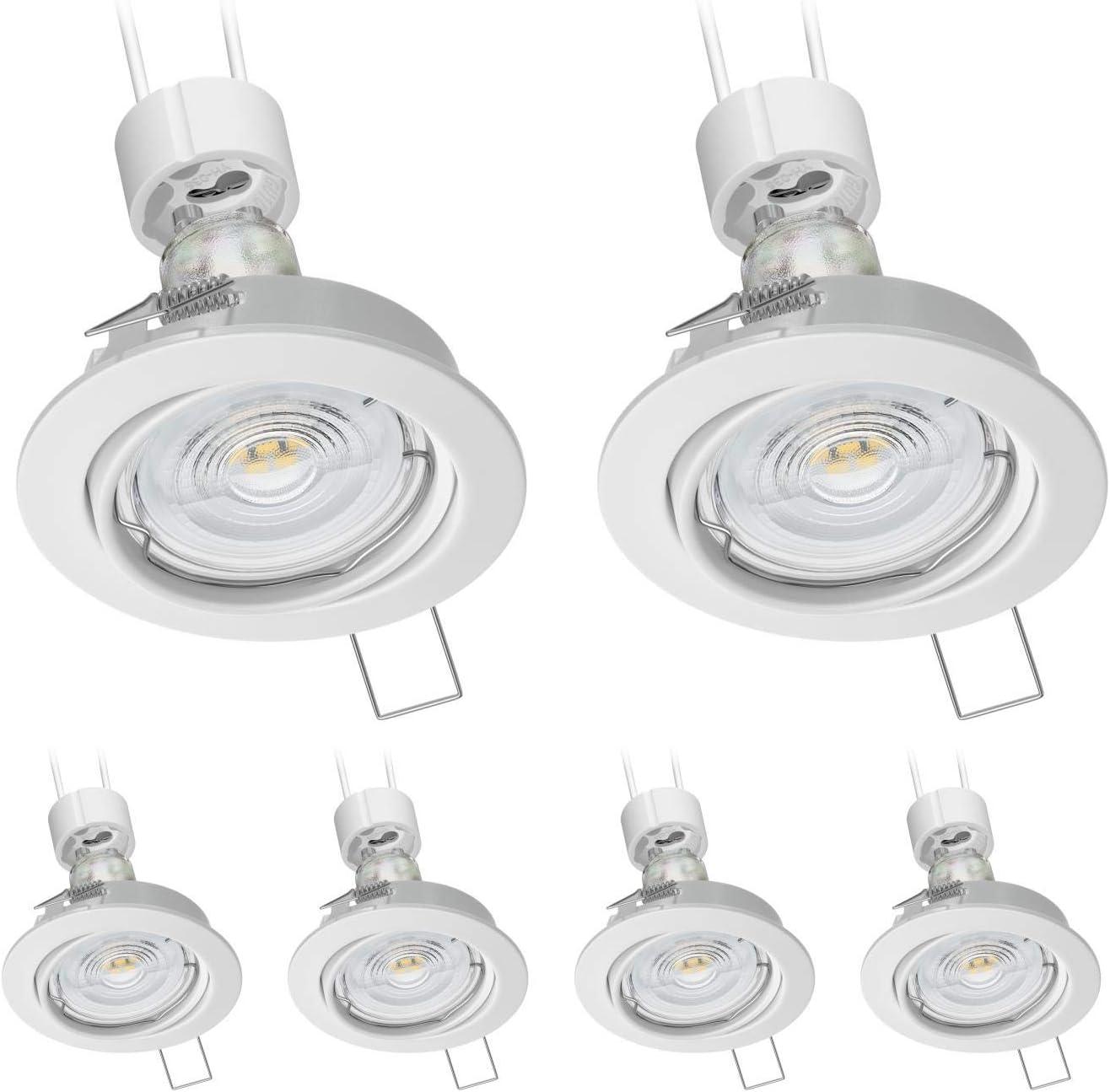 6 UDS ledscom.de Foco empotrable en el techo FERE marco empotrable blanca mate giratorio GU10 LED bombilla 550lm 50/° blanca