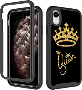 iPhone XR Case for Girls Women, Queen Gold Crown Pattern iPhone XR Case Golden Glitter Stylish Design Dual Layer Rugged Cover Soft TPU + Hard PC Bumper Full-Body Protective Case for iPhone XR