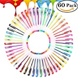 60 Multi Color Glitter Gel Pens Set Drawing Pens for Adult Coloring Books, Scrapbooking, Doodling, Drawing, Writing, Sketching and Craft