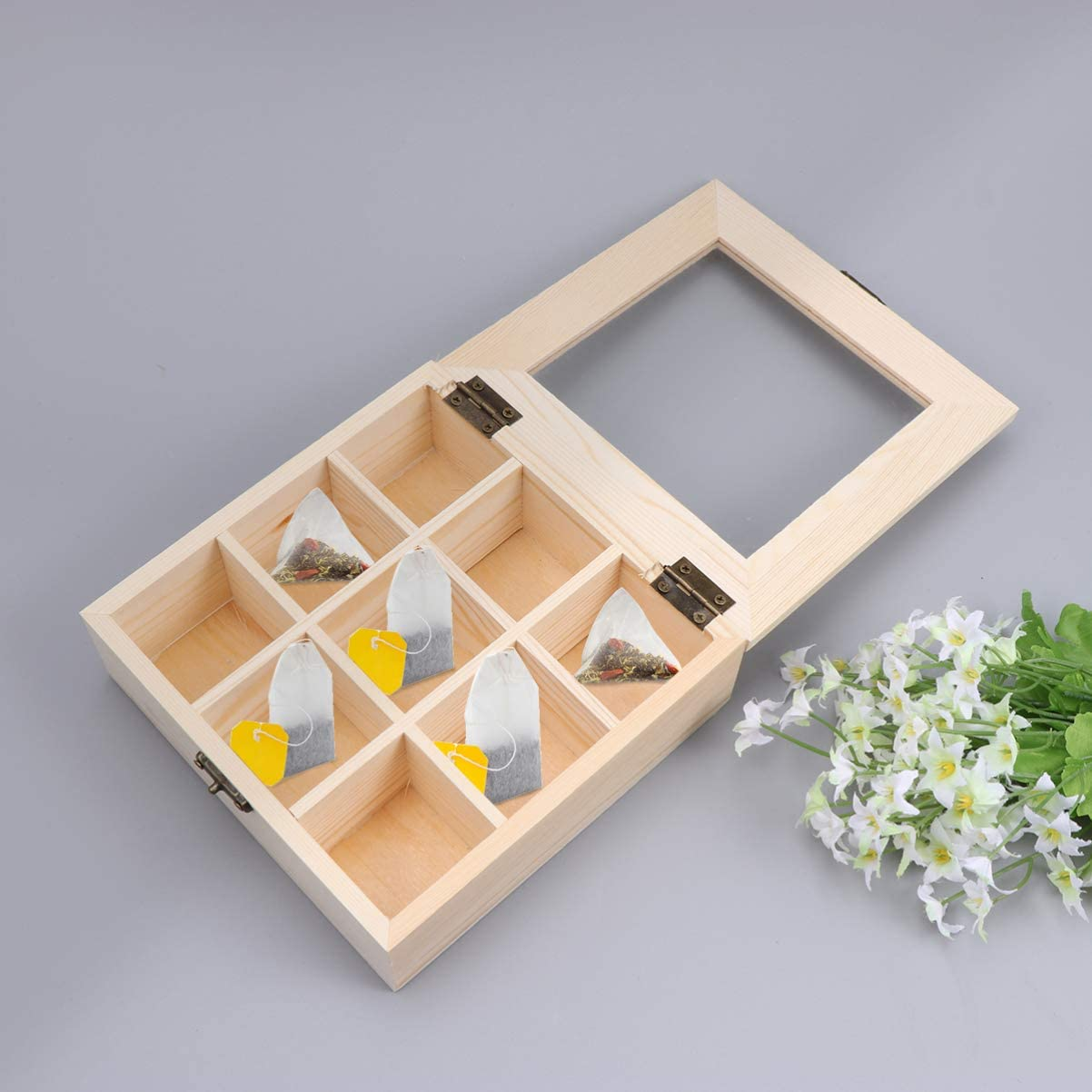 LIOOBO Wooden Tea Coffee Display Case Wooden Tea Box with 9-Compartment and Glass Window for Home Restaurant Shop