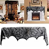 Shsyue Door/Curtain/Fireplace Mantel/Table Scarf Black Lace Scarf Spider Cover Decoration for Halloween