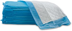 """UltraBlok Disposable Incontinence Underpads for Bed + Furniture, White/Blue, Large 23"""" x 36"""", 20 CT"""