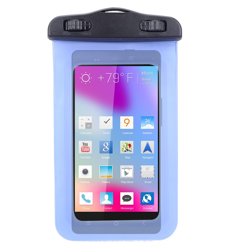 Universal Protective Waterproof Bag / Pouch / Cover / Case for BLU Vivo Air / Life 8 XL/ Life Play 2 / Studio C Mini with Responsive Screen Protector Windows and Strap Fit up to 5.5 Inch Ios Windows Android Smart Phone (Blue)