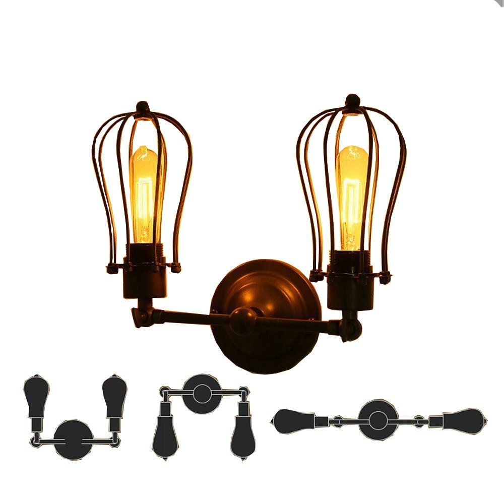 Juneslife Vintage Wall Sconces Industrial Metal Wire Caged Light For Living Room Hallway Dining