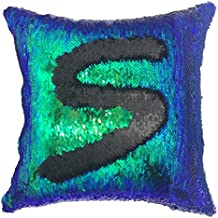 YOUR SMILE Mermaid Throw Pillow Case Magic Reversible Sequins Decorative Cushion Cover Pillowcase for Couch Sofa Bed,16 X 16 Inches,(Green/Black)