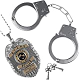 HIGHEVER Halloween Police Handcuffs for Kids Party Costume,Toy Set Kids Hand Cuffs with Badge for Cosplay Costume Accessory,