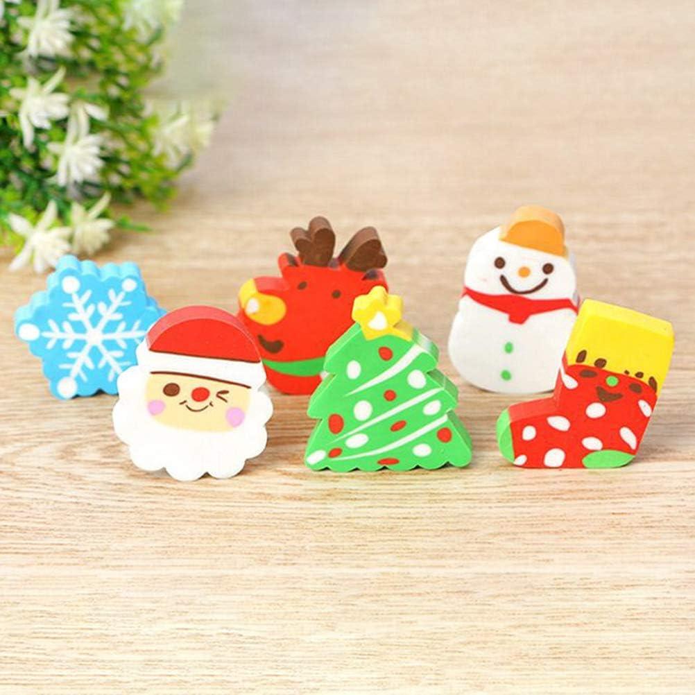 Elk Cartoon Santa Claus Rubber Eraser Set Stationery Supplies Elegant Gift