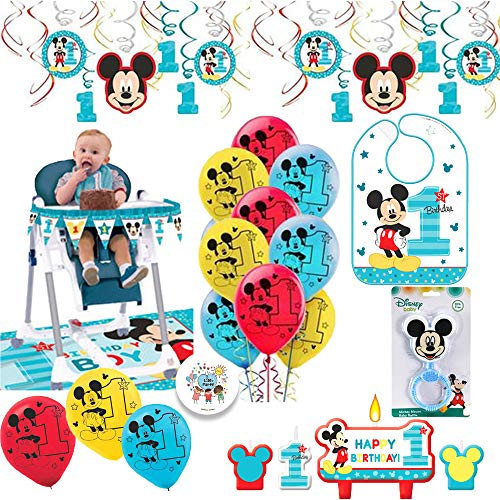 Mickey Mouse Fun To Be One First Birthday Party Supplies and Decorations Pack With 1st Birthday Mickey Bib, High Chair Kit, Balloons, Rattle, Birthday Candles, and Exclusive Pin By Another Dream