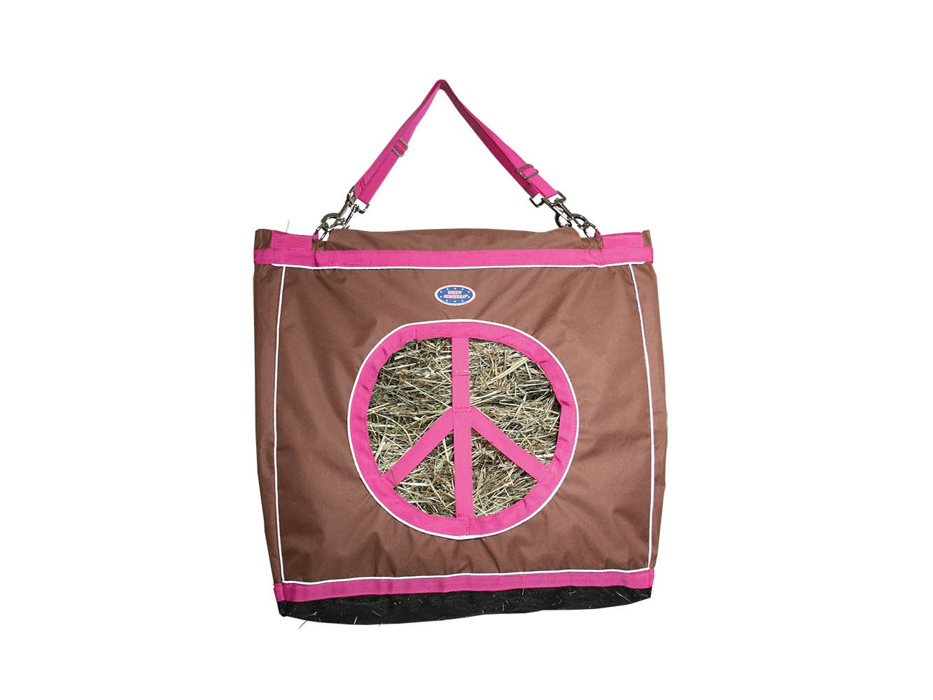 Derby Originals Reflective Peace Luv'in Top Load Hay Bag with Hanging Straps Black 71-7214-BK