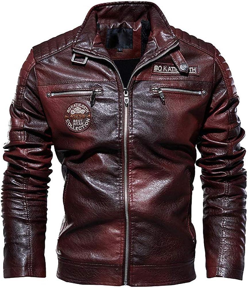 DaiHan Hombre Moderno Clásico Abrigo Bomber de Cuero de imitación Suave Motociclista Chaqueta Cazadora de Cuero PU con Estampado de Placa