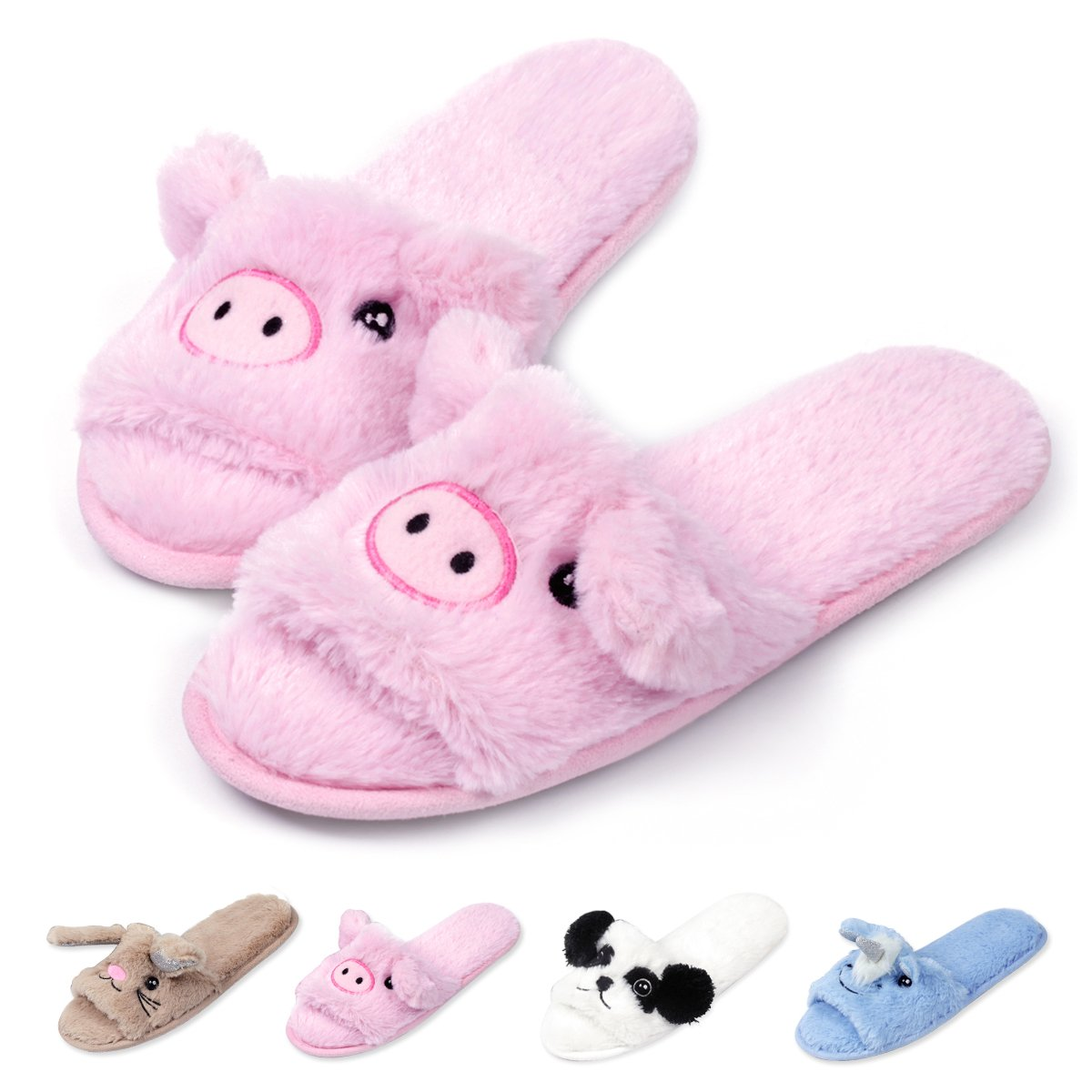 Womens Open Toe Slippers | Cute Bunny Unicorn Animal Slipper | Soft Fleece Memory Foam Clog | Anti-Slip Sole Indoor Outdoor Shoes | Flip Flop Spa Slippers (5-6, PinkPiggy)