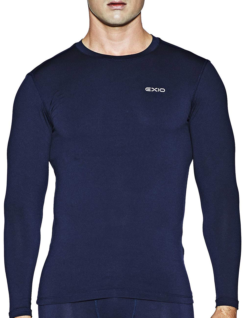 EXIO Japan Men's Compression Shirt Cool&Dry Baselayer/Underlayer Long Sleeve Top EX-R01 (Small, EXR01-NV)