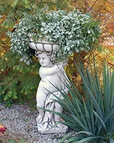Niño con cesta de flores (S579) Jardín figuras Estatua de piedra Piedra figuras 90 cm: Amazon.es: Jardín