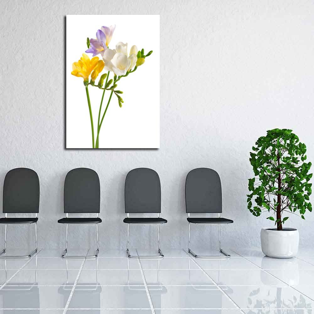 Pitaara Box Blanco & Amarillo & Morado Freesia Painting Flowers Unframed Canvas Painting Freesia 32.4 x 46.1inch d0be84