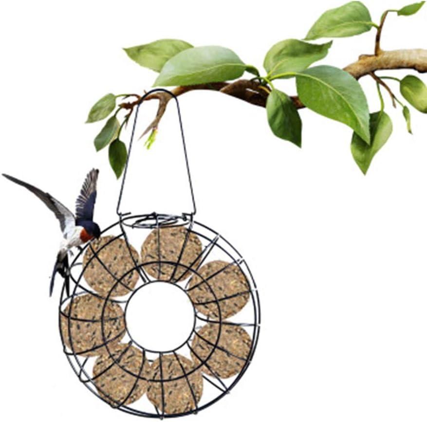 ZQEU - Comedero para pájaros colgante redondo automático de alimentos – a prueba de ardillas, distribuidor de alimentos para pequeñas novias canarias