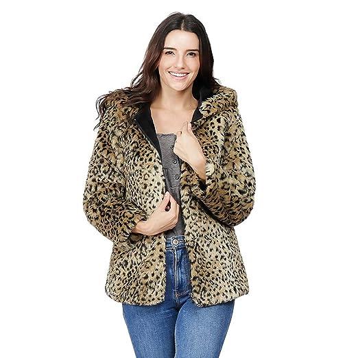 d6a1a6031542a Amazon Com Wool Leopard Coat Women Artificial Faux Fur Jacket Warm