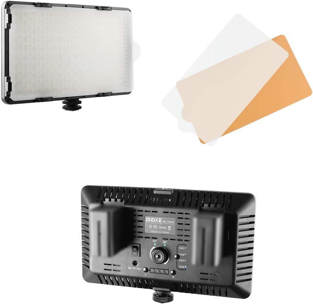 Meike MK-Y500BR 500 LED Dimmable Ultra High Power Panel Digital Camera//Camcorder Video LED Light with 1 Remote Control 2 Color Filter for YouTube Studio Photography Livestreaming Video Shooting