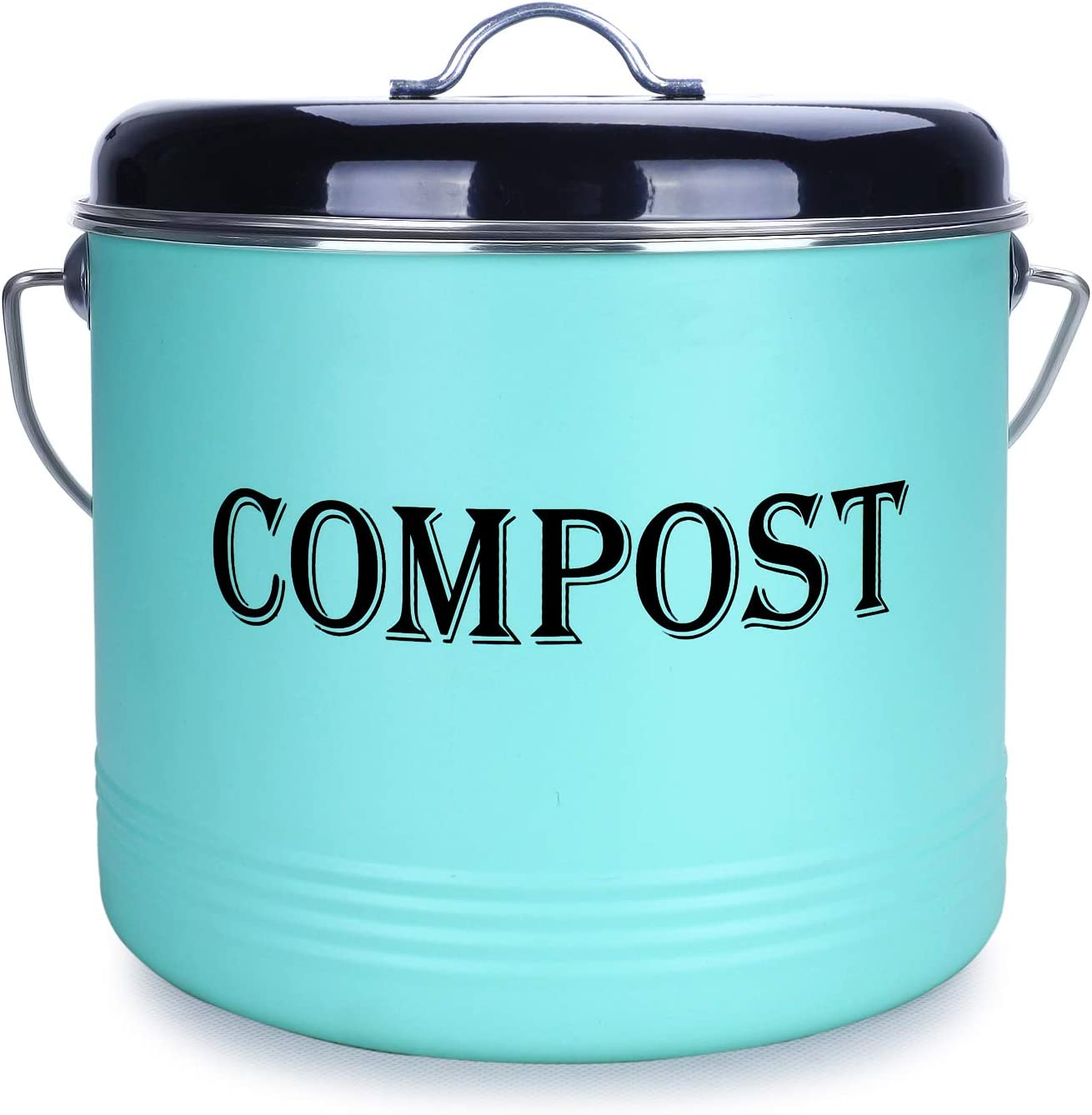 1.3 Gal Compost Bin for Kitchen Countertop With 7 BONUS Charcoal Filters - Vintage Indoor Scraps Compost Bucket With Lid-Flies/Odor Proof Compost Container Kitchen Pail, Recycling Caddy, Mint&Black