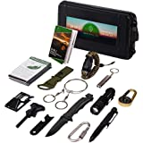 Oak Dweller Emergency Survival Kit 14 in 1, EDC Survival Gear Tool with Fire Starter, Tactical Pen, Flashlight, for…