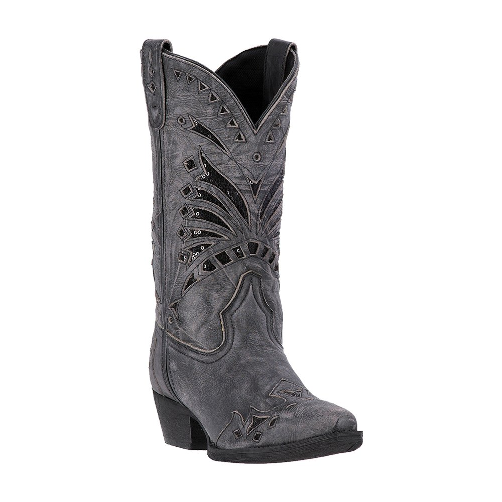Laredo Womens Black Stevie Leather Cowboy Boots 11in Sequin 8.5 M