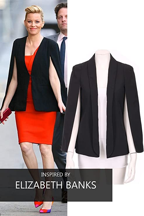 952b00aefb9 Cape Blazer with Collar Open Front and Long Sleeves  Amazon.co.uk  Clothing