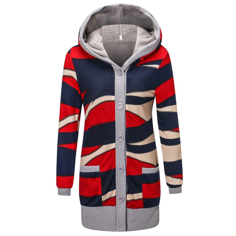 Hanomes Damen pullover, Frauen Casual Fashion Print Winter Warme Parka Outwear Mantel Obermantel Mantel